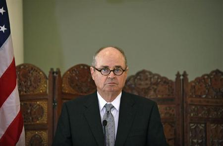 U.S. Special Representative to Afghanistan and Pakistan James Dobbins attends a news conference in New Delhi