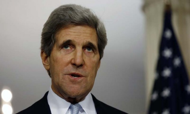 U.S. Secretary of State John Kerry speaks to the press following his meeting with Canada's Foreign Minister John Baird at the State Department in Washington