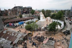epaselect epa04720080 People inspect the damage of the collapsed landmark Dharahara, also called Bhimsen Tower, after an earthquake caused serious damage in Kathmandu, Nepal, 25 April 2015. At least around 600 people have been killed and hundreds of others injured in a 7.9-magnitude earthquake in Nepal, according to the country's Interior Ministry. People were being rescued from the rubble of collapsed buildings. Temples have crumbled all over the city, and houses and walls have collapsed.  EPA/NARENDRA SHRESTHA
