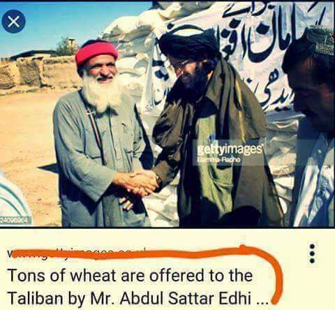 Edhi Foundation delivering wheat packets to Afghan Taliban representative at Chaman, October 2001