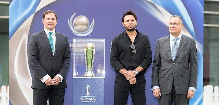Image result for Shahid Afridi Unveils ICC Champions Trophy 2017