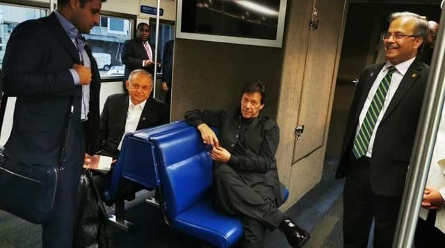Imran Khan with his delegation in the US. PHOTO: PID